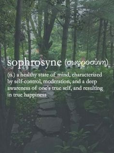 Sophrosyne = A Healthy State of Mind