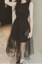 SHARE & Get it FREE   Chic Round Collar Mesh Splicing Sleeveless Dress For WomenFor Fashion Lovers only:80,000+ Items • New Arrivals Daily • Affordable Casual to Chic for Every Occasion Join Sammydress: Get YOUR $50 NOW!