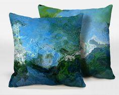 Un par de cojines con el arte abstracto, 16x16, 18x18, 20x20 en azul y verde, almohada decorativa acabada, almohada completa, Rising AB