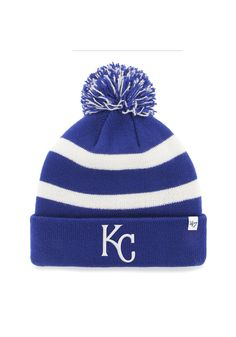 d39a7801412 Kansas City Royals Hat - Mens Royal Blue White Breakaway Pom Cuff Knit Hat  Kansas