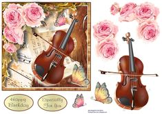 Pretty pink roses set off this violin and music sheets. Decoupage the violin and roses, add a butterfly. Great card for music lovers. Birthday Verses For Cards, Birthday Cards, Happy Birthday, Music Sheets, Card Crafts, Card Designs, Music Lovers, Violin, Pink Roses