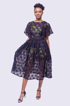 Lace Dress with Ankara Underlay, Ankara Dress, African Womens Dress, African Dress African Dresses For Women, African Print Dresses, African Print Fashion, African Attire, African Fashion Dresses, African Prints, Ankara Fashion, Africa Fashion, Tribal Fashion