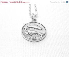 Valentines Day Sale Pisces Necklace Sterling by GirlBurkeStudios, $31.50