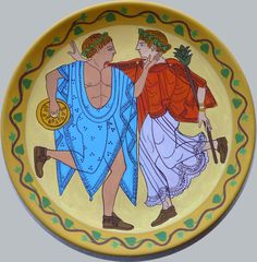 Wall plate, colored reproduction of an ancient Etruscan mirror hand painted on terracotta.