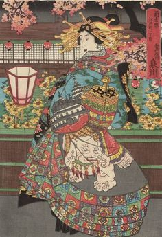 Senshû of the Izumiya at Edo-machi itchôme in the New Yoshiwara, from an untitled series of courtesans under cherry blossoms at night 夜桜に遊女 「新吉原 江戸町一丁目 和泉屋内 泉州」 Japanese Edo period Artist Unknown, Japanese Japanese Art Prints, Japanese Drawings, Japanese Painting, Japanese Shrine, Ancient Japanese Art, Christianity In Japan, Oriental, Geisha Art, Paintings