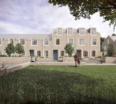 Emerging practice Archio has won planning for this million housing-led scheme in Temple Cloud, Somerset Brick Architecture, Architecture Visualization, Residential Architecture, Modern Brick House, New Urbanism, Temple Gardens, Suburban House, Brick Facade, Social Housing