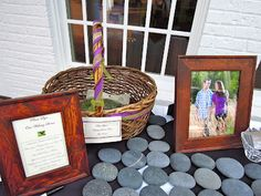 The couple had wishing stones on which the guests wrote their wishes for the couple and signed. These will be displayed in their home as a reminder of all those who were at their wedding.