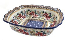 Decorating Kitchen Red Daisy Small Square Serving Dish - NEW - exquisite serving dish with a scallop edge - beautiful details! square x deep! Polish Folk Art, Kitchen Decor, Decorating Kitchen, Kitchen Ideas, Kitchen Design, Polish Pottery, Kitchen On A Budget, Plates And Bowls, Serving Dishes
