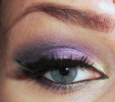Ivory, purple and black eye shadow - ivory inner corner (try 2nd shade in CS palette), purple center (KVD linzy-jane), black or gunmetal outer corner (from CS palette), black cat eye eyeliner