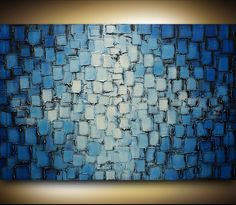 Abstract Blue Tinted Oil Painting Hand Painted Wall Art - Ready to Hang - AB-0015