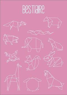 Modèles pour des animaux origamis en masking tape