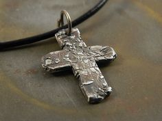 Rustic Crude Christian Cross Fine Silver Handmade Necklace Jewelry For Men or Women on Etsy, $54.00