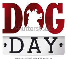 Commemorative poster with dog design inside greeting text like loose-leaf calendar with paw prints for Dog Day celebration. Paw Prints, Dog Design, Lululemon Logo, Dog Days, Celebration, Calendar, Royalty Free Stock Photos, Logos, Illustration