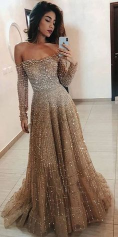Evening dresses with sleeves - Off the Shoulder Long Sleeves Sparkle Long Prom Dresses – Evening dresses with sleeves Dresses Elegant, Cute Dresses, Unique Formal Dresses, Most Beautiful Dresses, Evening Dresses With Sleeves, Evening Gowns, Golden Dress, Gala Dresses, Indian Prom Dresses