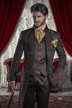 ONGala 1265 - Wedding Suits for groom with Black/Bronze Tone Brocade Jacket