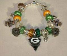 Green Bay Packer Official NFL pennant charm on silver bracelet | RedVixenDesign - Jewelry on ArtFire
