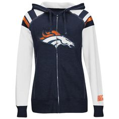 Majestic Denver Broncos Womens Navy Deep Post IV Full Zip Fleece Hoodie