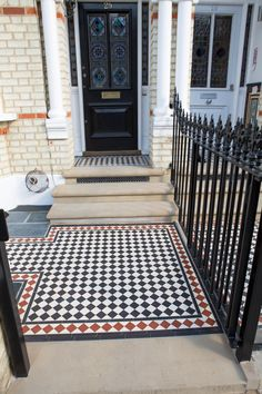 Victorian style red, black and white tiled pathway, in contemporary, stylish London front garden. Front Path, Front Steps, Victorian Terrace House, Edwardian House, Tile Steps, Door Steps, Terrace Tiles, Porch Tile, Small Front Gardens