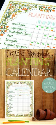 Free Printable Planting Calendar! A set of beautiful and free printable planting calendar that you can customize to your own planting region! Can be used as a great gardening journal too! via A Piece Of Rainbow