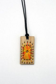embroidered pendant #pendant #embroidery #wood