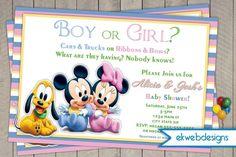 Mickey And Minnie Baby Shower Invitation  Neutral Baby Shower Invite