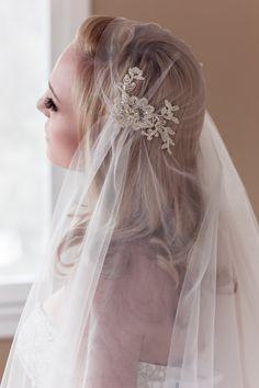 Gold Lace Juliet Bridal Cap Wedding Veil Alencon by veiledbeauty, $165.00
