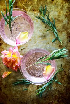 rose and tarragon gin lemonade.