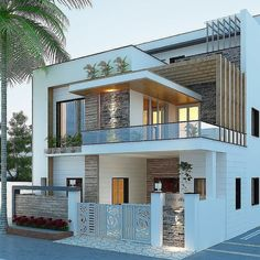 Modern Exterior House Designs, Modern House Facades, Dream House Exterior, Modern House Design, Exterior Design, Modern Bungalow Exterior, Duplex Design, Home Interior Design, House Outside Design