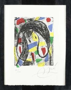 """Artwork by Joan Miró, From: Guy Lévis Mano """"La Révolte des Caractères"""", Made of Etching with colour aquatint"""