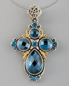 ahhhh....London Blue Topaz Cross Enhancer by Konstantino at Neiman Marcus.