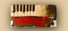 Original Abstract Painting Acrylic Modern Contemporary Art size 48x24x1.5 by ROSS MALYSH color red sienna brown vintage piano