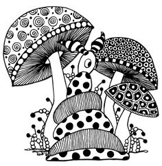 Zentangle, the use of repetitive patterns to create art Doodle Art Drawing, Zentangle Drawings, Mandala Drawing, Art Drawings Sketches, Zentangle Patterns, Zentangles, Mushroom Drawing, Mushroom Art, Mandala Art Lesson
