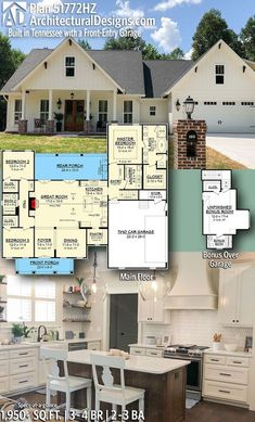 Exclusive Farmhouse with Bonus Room and Side Load Garage Architectural Designs Modern Farmhouse Plan client-built in Tennessee! Modern Farmhouse Plans, Modern Farmhouse Kitchens, Farmhouse Decor, Farmhouse Ideas, Farmhouse Design, Farmhouse Style, New House Plans, Dream House Plans, 2200 Sq Ft House Plans