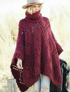 Fashion knitwear Cardigans - Turtleneck - Dresses - Layered - More.Fashion knitwear Cardigans - Turtleneck - Dresses - Layered - More. Poncho Knitting Patterns, Knitted Poncho, Knitted Shawls, Crochet Shawl, Hand Knitting, Knit Crochet, Crochet Patterns, Knitted Cape Pattern, Rico Design