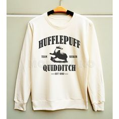S M L - Hufflepuff Shirts Harry Potter Shirts Hufflepuff Quidditch... ($25) ❤ liked on Polyvore featuring tops, hoodies, sweatshirts, unisex tops, white sweat shirt, long sleeve tops, white tops and white long sleeve shirt