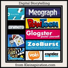 Kleinspiration: 10 Apps & Sites for Digital Storytelling & more! Awesome ways to use technology in the classroom Teaching Technology, Technology Tools, Technology Integration, Educational Technology, Digital Literacy, Digital Storytelling, Instructional Technology, Instructional Strategies, Web 2.0