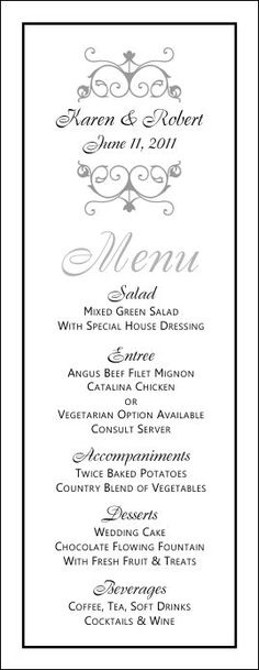Wedding Menu Templates | Just another WordPress site