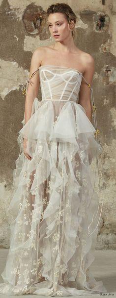 rara avis 2017 bridal strapless sweetheart neckline bustier bodice full embellishment peplum ruffled skirt modified a line wedding dress sweep train (22) mv -- Rara Avis 2017 Wedding Dresses