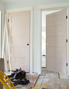 Sherwin Williams white truffle -- a soft muted pink Painted Interior Doors, Interior Trim, Interior Paint, Interior Decorating, Interior Door Colors, Decorating Games, Painted Doors, Interior Design, Sherwin Williams White