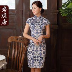 Adorable Blue Paisley Pattern Qipao Cheongsam Dress - Qipao - Cheongsam - Women