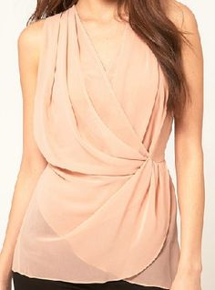 7ae54c0962b9 Shop Nude Deep V-neck Sleeveless Criss Cross Front Chiffon Blouse online.  SheIn offers Nude Deep V-neck Sleeveless Criss Cross Front Chiffon Blouse    more ...