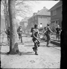 Infantry of the 11th Royal Scots Fusiliers, 49th (West Riding) Division, searching houses in Ede in The Netherlands, 17 April 1945. #WWII