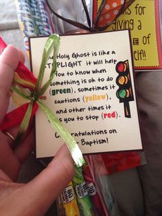 Holy Ghost is like a stoplight. Baptism Talk, Baptism Party, Boy Baptism, Baptism Gifts, Lds Baptism Ideas, Lds Baptism Program, Fhe Lessons, Primary Lessons, Activity Day Girls