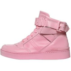 Moschino Women 35mm Leather High Top Sneakers ($830) ❤ liked on Polyvore featuring shoes, sneakers, pink, leather shoes, pink sneakers, high top sneakers, hi tops and pink shoes