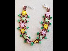 How to make easy DIY Tutorial Garden Flowers Beaded Bracelet Beading Tutorials, Beading Patterns, Ankle Bracelets, Beaded Bracelets, Making Bracelets With Beads, Beading Needles, Beaded Flowers, Diy Tutorial, Seed Beads