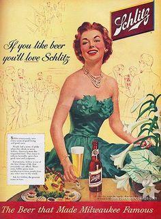 Schlitz Beer   Vintage food & drink poster   Retro advert #Vintage #Posters #Affiches #Food #Drinks #Carteles #deFharo #Ads