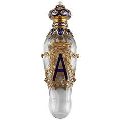 Late 19th Century Exceptional Crystal Flask with Enameled Gold Box | From a unique collection of vintage vanity-items at https://www.1stdibs.com/jewelry/objets-dart-vertu/vanity-items/