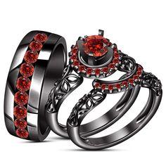 Round Cut 2.00 CT Red Garnet Black Gold Over His & Her Engagement Trio Ring Set  #WeddingEngagementAnniversaryPartyWear