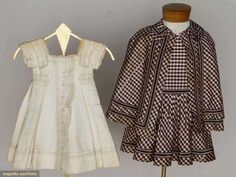 """Two children's summer dresses, c1860; both one-piece; One 1869 toddler's white corded cotton, soutache bands and eyelet lace trims, high waist belt with back peplum; One little boy's taffeta in brown and white gingham, knife pleated skirt, brown and grey silk grosgrain trim, matching cape and extra fabric; together with one c1875 boy's white cotton cord jacket, eyelet and soutache trims, L 15.5"""""""