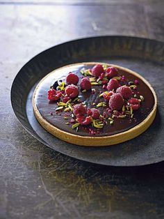 Chocolate ganache tart with fresh raspberries